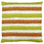 Metallic Gold Glitter Stripes Large Flano Cushion Case (One Side) Front