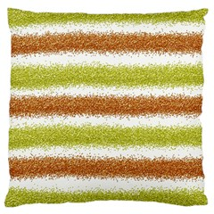 Metallic Gold Glitter Stripes Large Flano Cushion Case (Two Sides)