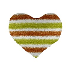 Metallic Gold Glitter Stripes Standard 16  Premium Flano Heart Shape Cushions