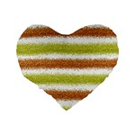 Metallic Gold Glitter Stripes Standard 16  Premium Flano Heart Shape Cushions Back