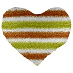 Metallic Gold Glitter Stripes Large 19  Premium Flano Heart Shape Cushions Front