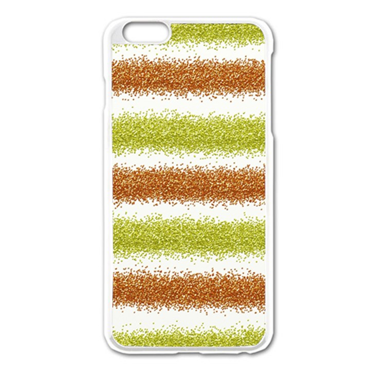 Metallic Gold Glitter Stripes Apple iPhone 6 Plus/6S Plus Enamel White Case