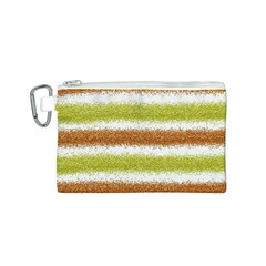 Metallic Gold Glitter Stripes Canvas Cosmetic Bag (S)