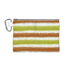 Metallic Gold Glitter Stripes Canvas Cosmetic Bag (M)