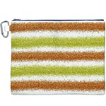Metallic Gold Glitter Stripes Canvas Cosmetic Bag (XXXL) Front