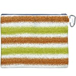 Metallic Gold Glitter Stripes Canvas Cosmetic Bag (XXXL) Back