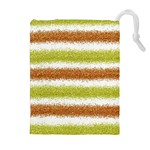 Metallic Gold Glitter Stripes Drawstring Pouches (Extra Large) Front