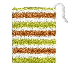 Metallic Gold Glitter Stripes Drawstring Pouches (XXL)
