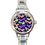 Colorful High Heels Pattern Round Italian Charm Watch Front