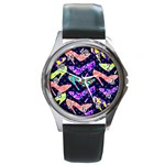 Colorful High Heels Pattern Round Metal Watch Front