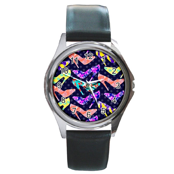 Colorful High Heels Pattern Round Metal Watch