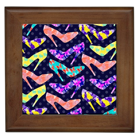 Colorful High Heels Pattern Framed Tiles
