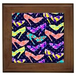 Colorful High Heels Pattern Framed Tiles Front