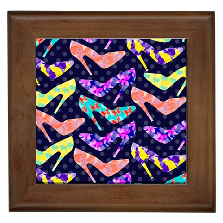 Colorful High Heels Pattern Framed Tiles