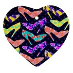 Colorful High Heels Pattern Ornament (Heart)  Front