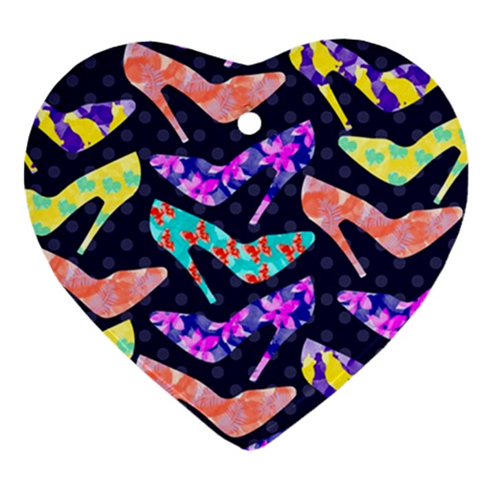Colorful High Heels Pattern Ornament (Heart)