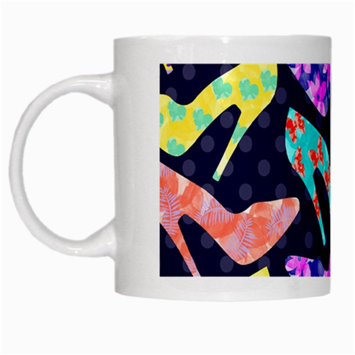 Colorful High Heels Pattern White Mugs