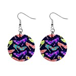 Colorful High Heels Pattern Mini Button Earrings Front