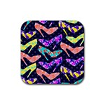 Colorful High Heels Pattern Rubber Square Coaster (4 pack)  Front