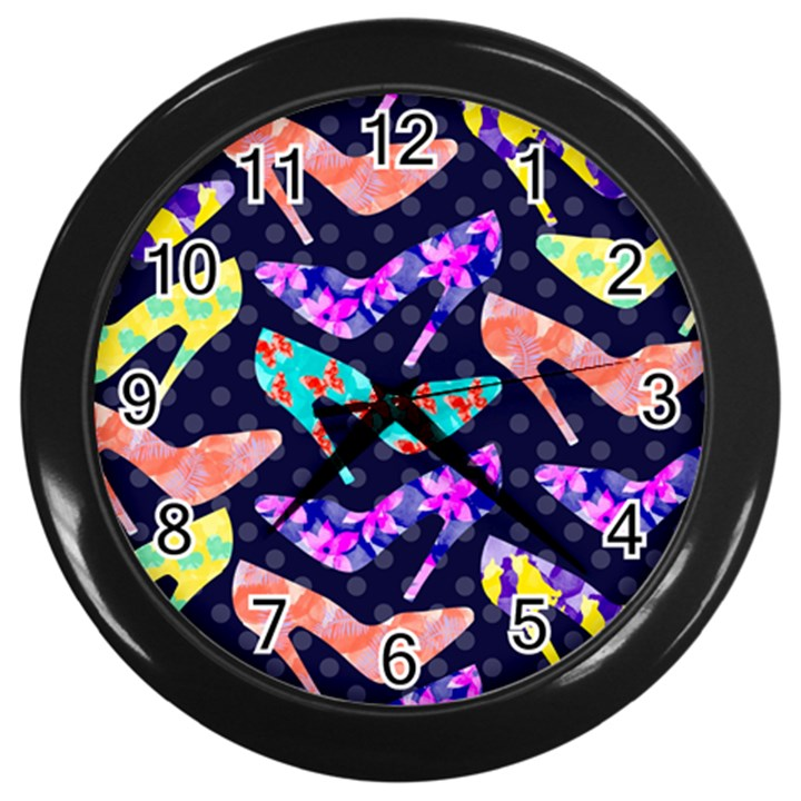 Colorful High Heels Pattern Wall Clocks (Black)