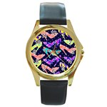 Colorful High Heels Pattern Round Gold Metal Watch Front