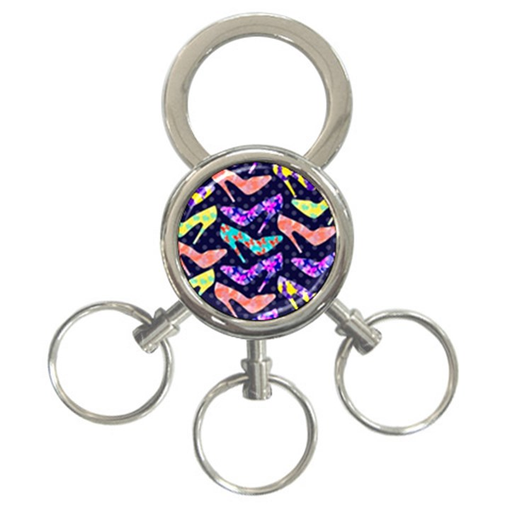 Colorful High Heels Pattern 3-Ring Key Chains