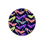 Colorful High Heels Pattern Rubber Coaster (Round)  Front