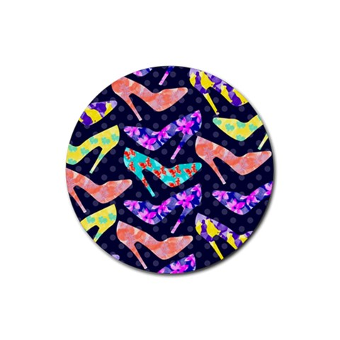 Colorful High Heels Pattern Rubber Round Coaster (4 pack)