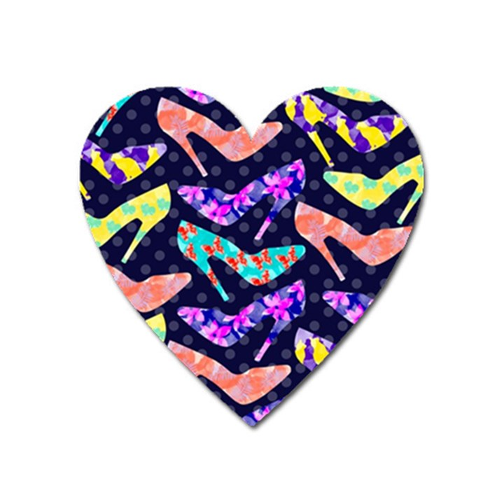 Colorful High Heels Pattern Heart Magnet
