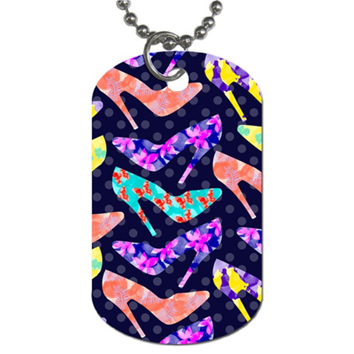 Colorful High Heels Pattern Dog Tag (One Side)
