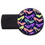 Colorful High Heels Pattern USB Flash Drive Round (1 GB)  Front