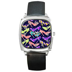 Colorful High Heels Pattern Square Metal Watch