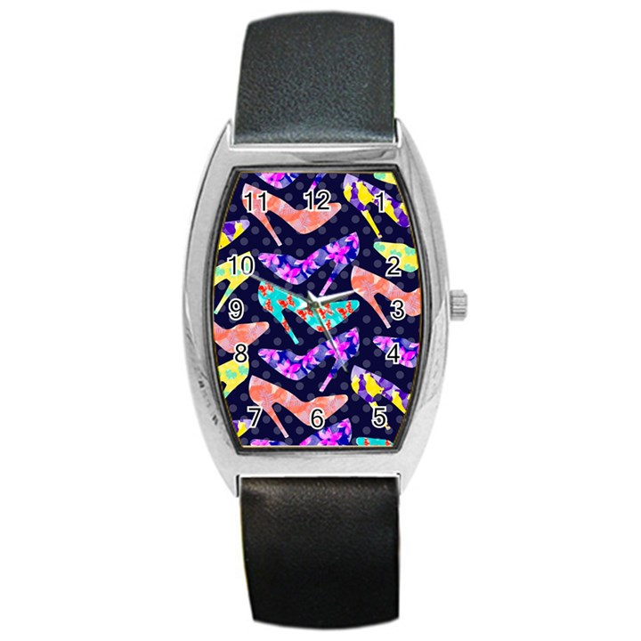 Colorful High Heels Pattern Barrel Style Metal Watch