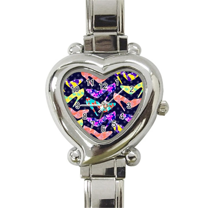 Colorful High Heels Pattern Heart Italian Charm Watch