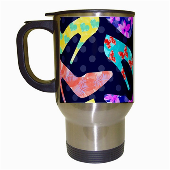 Colorful High Heels Pattern Travel Mugs (White)