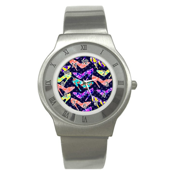 Colorful High Heels Pattern Stainless Steel Watch
