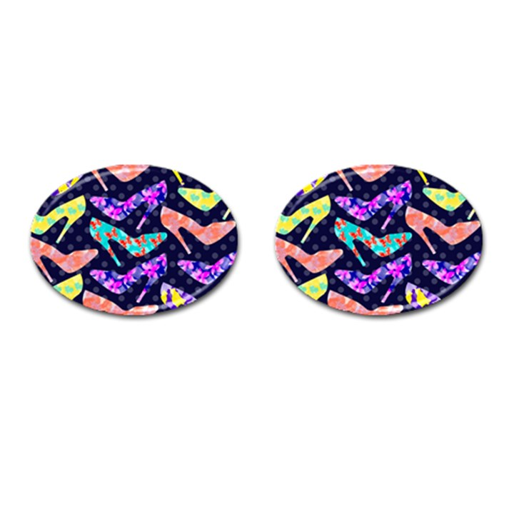 Colorful High Heels Pattern Cufflinks (Oval)