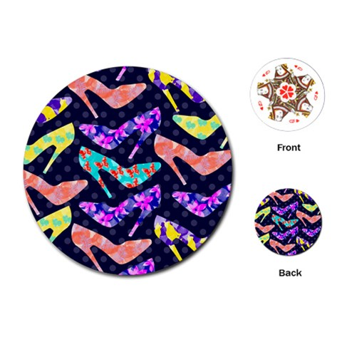 Colorful High Heels Pattern Playing Cards (Round)