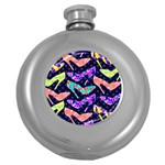 Colorful High Heels Pattern Round Hip Flask (5 oz) Front