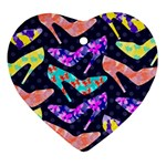 Colorful High Heels Pattern Heart Ornament (2 Sides) Back