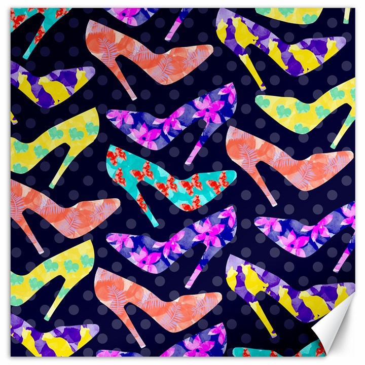 Colorful High Heels Pattern Canvas 12  x 12