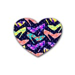 Colorful High Heels Pattern Rubber Coaster (Heart)  Front