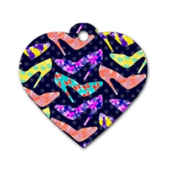Colorful High Heels Pattern Dog Tag Heart (two Sides)