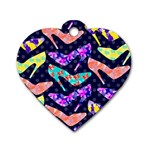 Colorful High Heels Pattern Dog Tag Heart (Two Sides) Front