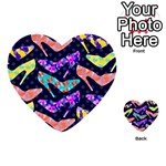 Colorful High Heels Pattern Multi-purpose Cards (Heart)  Back 13