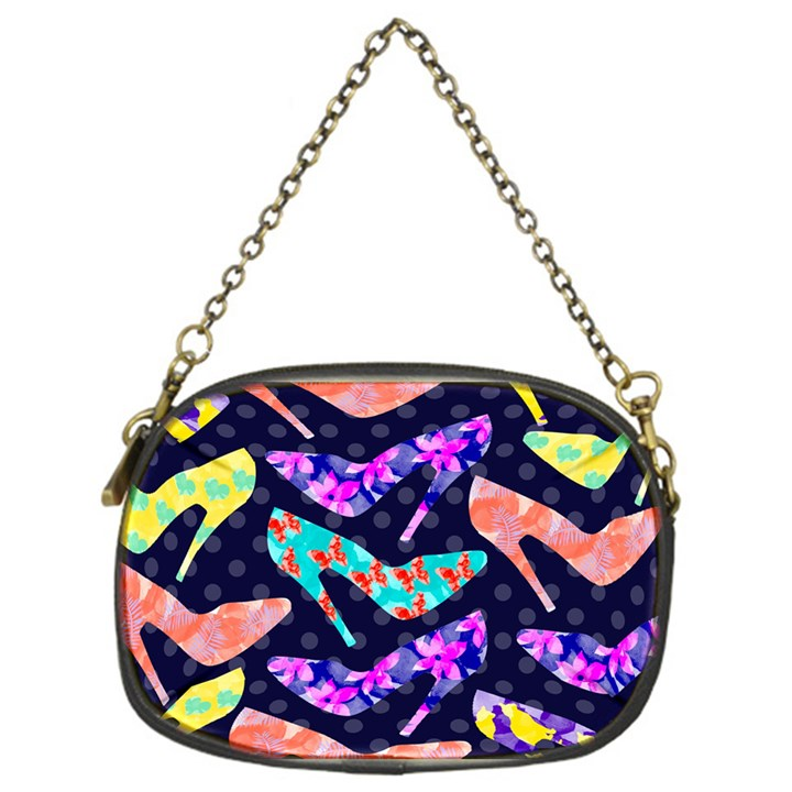 Colorful High Heels Pattern Chain Purses (One Side)
