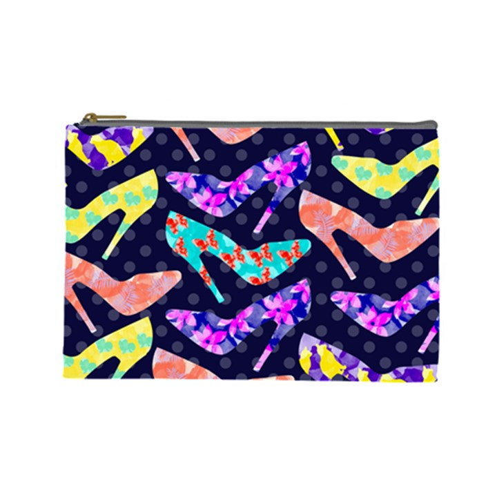 Colorful High Heels Pattern Cosmetic Bag (Large)