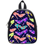 Colorful High Heels Pattern School Bags (Small)  Front