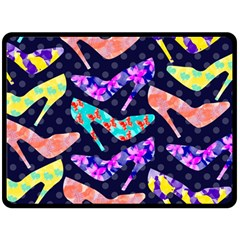 Colorful High Heels Pattern Fleece Blanket (Large)