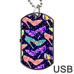 Colorful High Heels Pattern Dog Tag USB Flash (One Side)